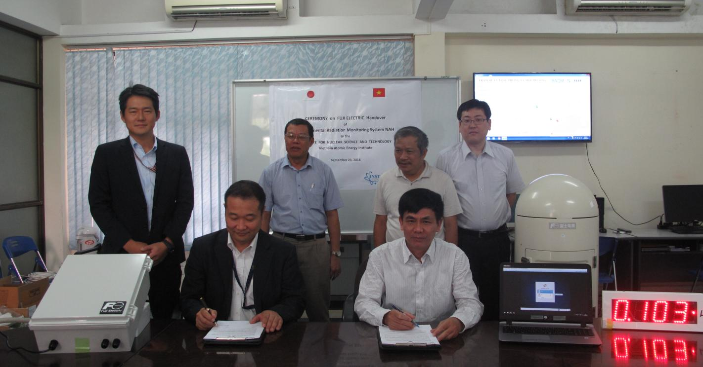 Handover ceremony of environmental radiation monitoring system NAH to INST